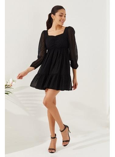 Reyon REYON Kadın Astarlı Uzun Kol Şifon Elbise Siyah Siyah
